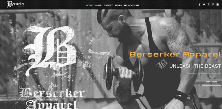 Berserker Gym Apparel eCommerce Store with Full Shopping Cart System